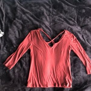 crisscrossed long sleeve shirt
